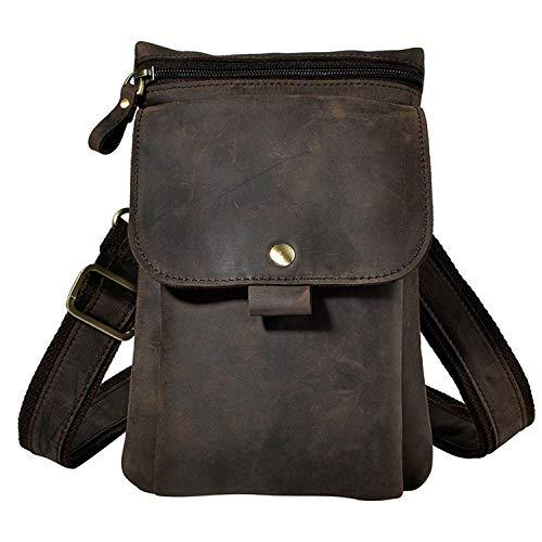 Men's Waist Packs Genuine Leather Fanny Pack Cowhide Hip Belt Hook Bag Messenger Crossbody Bags Male Small Phone Pouch,Black Brown