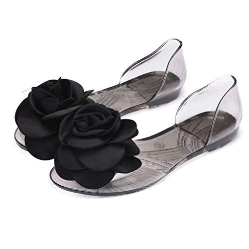 - Baigoods Bohemia Women's SummerThree-Dimensional Camellias Flowers Flip Flop Jelly Sandals Flat