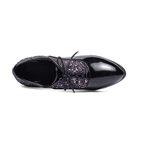 kengät Sekoitus Suljetun Toe Väri Ympäri Pumput Korkokengät Materiaaleja Sitoa Naisten Weipoot Musta Valikoituja qXpfPP