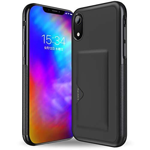 想起待つアルコールHokonui iPhone XR ケース 6.1インチ 2018最新版 ICカード収納 軽量 耐衝撃 全面保護 落下防止 アイフォンXケース 三重構造 6.1インチ カメラ保護 携帯カバー (iPhoneXR-黒)