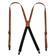 CTM® Leather Clip-End 3/4 Inch Suspenders, Tan