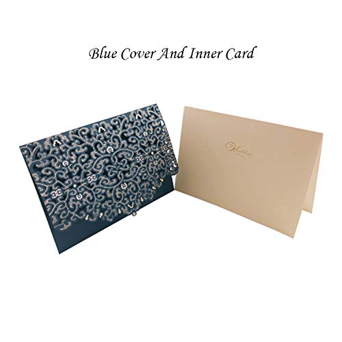 OUOK 1pcs Gold White Red Luxury Flora Laser Cut Wedding Invitations Card Elegant Wedding Envelopes Event Party Wedding Decoration,Blue Cover Insert]()