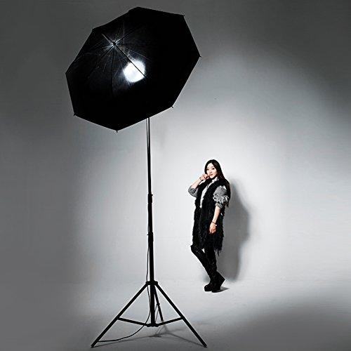 Lightdow Photographic Photo Umbrella Lighting Kit: Black/Silver Reflective Umbrella + Light Stand + Light Bulb + Lamp Base (Model Number: LD-TZ007)