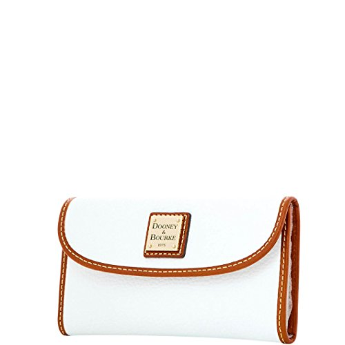 Dooney & Bourke Pebble Grain Leather Continental Clutch Wallet White