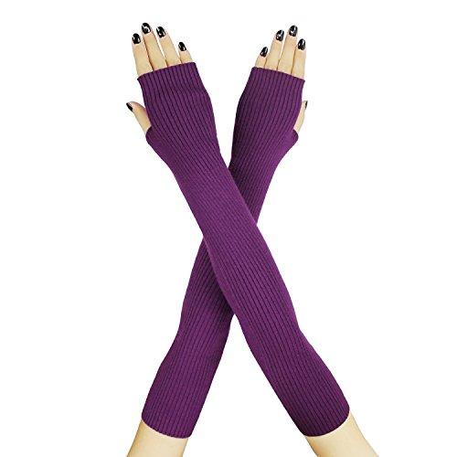 Farlenoyar Women Knit Cashmere Soft Winter Warm Gloves Arm Warmer Long Fingerless Gloves (Purple)