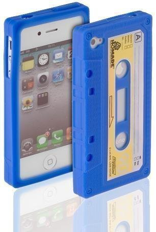 Avcibase 4260310645902 TPU Silikon Case mit Kassetten Design für Apple iPhone 4/4S blau