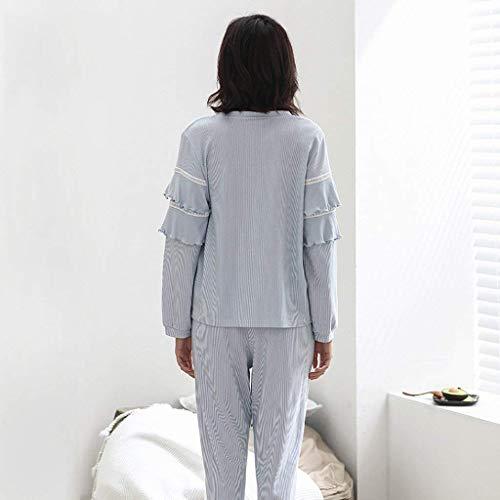 Mujer Pijamas Algodon Manga Fashion Casuales Pantalones Conjunto Primavera Para Hogar Mujeres Camisones Ropa Blau Redondo Cuello Elegante Rayado Casual El Largo Otoño De Pijama rqCrHw08