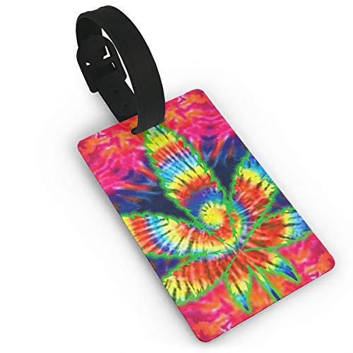 Homlife Tie Dye Weed Graphics PVC Travel Luggage Tag with Strap for Baggage Bag/Suitcases - Business Card Holder Name ID Labels Set for - Business Falcons Card Atlanta Holder