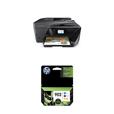 HP OfficeJet Pro 6978 Wireless All-in-One Photo Printer with Mobile Printing, Instant Ink ready (T0F29A) and HP 902 Cyan, Magenta & Yellow Original Ink Cartridge, 3 pack (T0A38AN#140) Bundle
