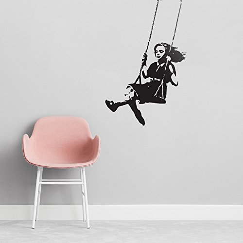 Removeable Vinyl Stickers - Ideaowl A Little Girl Swinging Wall Decal for Kid's bedroom,Baby Home Room Removeable Vinyl DIY Decoration Art Wall Sticker
