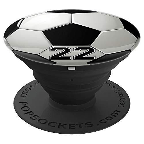 Soccer Player Number No 22 Football Ball Pop Socket - PopSockets Grip and Stand for Phones and Tablets