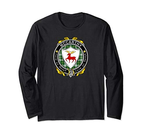 McCarthy Irish Badge w/St Patrick Tartan Long Sleeve T-Shirt