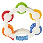 Fisher-Price Shake 'n Beats Tambourine Baby Rattle Toy Colourful with Sound and Mirror