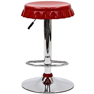 Red bottle cap pub stool with chrome base