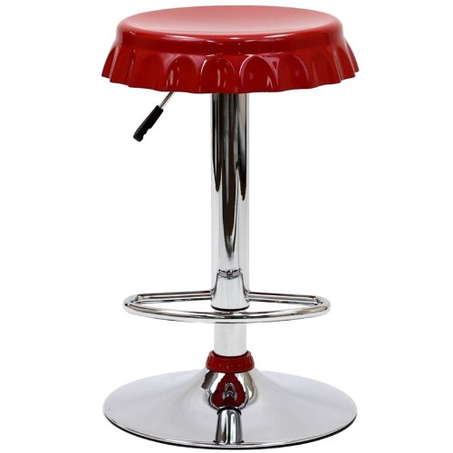 Red Swivel Soda Cap and Chrome Stool