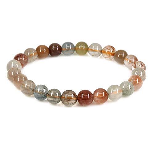 - Amandastone Natural A Grade Multicolor Rutilated Quartz 8mm Round Beads Stretch Bracelet 7