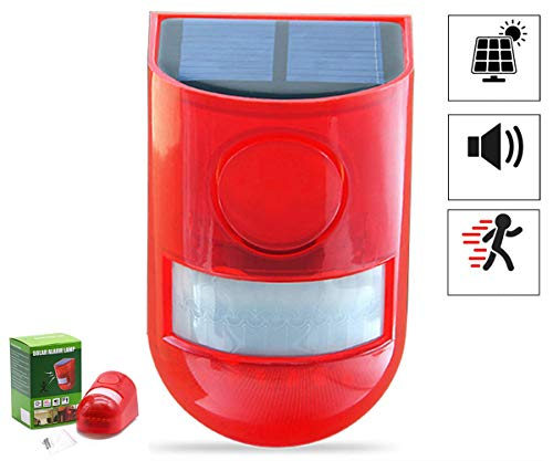 Solar Strobe Light with Motion Detector Solar Alarm Light 110db Sound Security Siren Light IP65 Waterproof One Time Solar Charge Stand for 30days 24 Hours+Night Mode for Home, Farm,Barn,Villa,Yard.