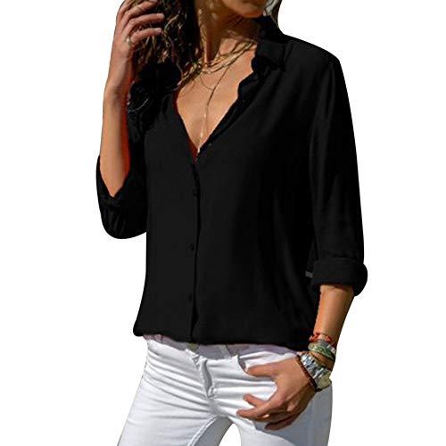 Top Tunique V Femme Blouse Chemisier Mode Longues laamei Manches Col Mousseline Noir Unie Couleur 5pUxIY58qw