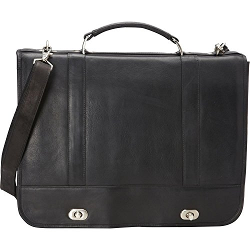 David King & Co. Full Flap Turn Lock Briefcase, Black, One -