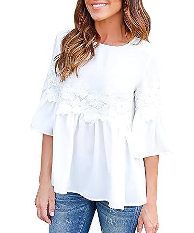Major Wong Women Summer Fashion Half Sleeve Loose Fit Crew Neck White T Shirts
