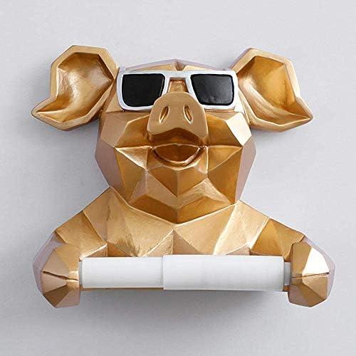 BZM-ZM ティッシュボックスティッシュボックスストレージボックスティッシュホルダークリエイティブ動物の頭部像置物ハンギングティッシュホルダートイレ洗面所の壁の家の装飾のロール紙ティッシュボックスホルダー-Gold_Pig