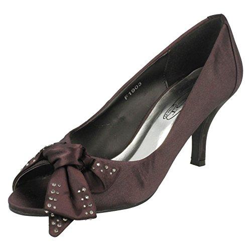 Spot On Ladies Open Toe Court Shoe with Diamante Bow Detail Black oVtvB