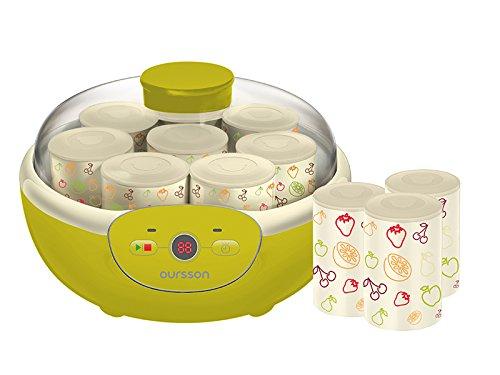 Oursson FE1105/GA Yogurtiera, 1,5 Litri, 8 x vasi in ceramica, controllo digitale, Mela Verde [Classe di efficienza energetica A] FE1105 / GA