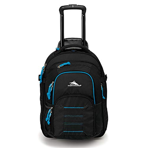 (High Sierra Ultimate Access 2.0 Carry-on Wheeled Backpack, Black/Blue Print)