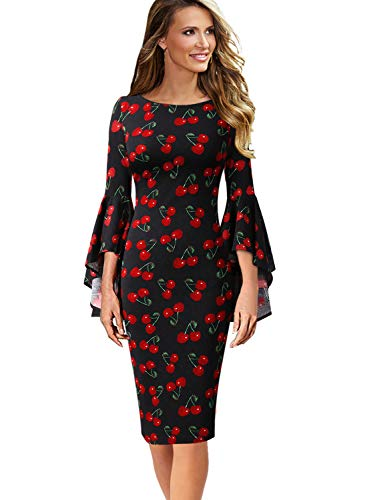 VFSHOW Womens Cherry Fruit Print Bell Sleeve Cocktail Party Sheath Dress 1852 BLK S ()