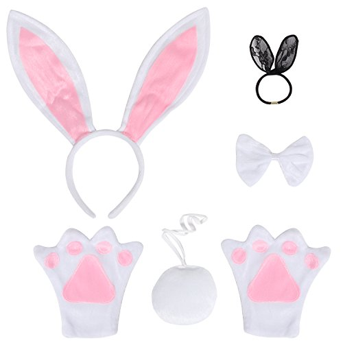 JustinCostume Bunny Cosplay Set Ears Tail Bowtie Paws Hair Tie, White (Halloween Costum Ideas)