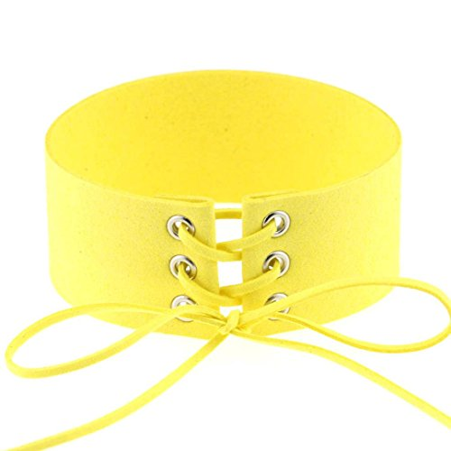 Vintage Choker Style Necklace - Choker Emubody Womens Vintage Velvet Necklaces Leather Choker Charm (Yellow)