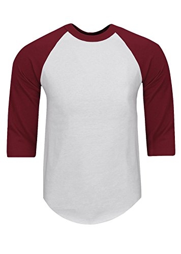 - RA0125_L Baseball T Shirts Raglan 3/4 Sleeves Tee Cotton Jersey S-5XL White/Burgundy L