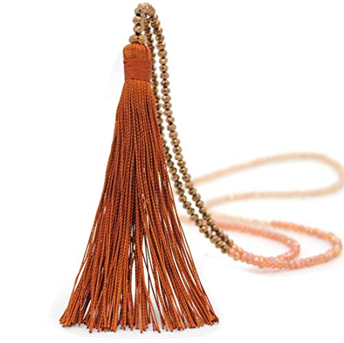 Z-Jeris Women Girl Long Tassel Necklace Handmade Turquoise Pearl Crystal Beads Necklace for Women Fashion Jewelry (Coffee)