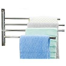 Wall Mounted Stainless Steel Towel Bar - Kes 304 Towel Holder - Swing Arm Bathroom Towel Rack - Hanger Towel Holder Organizer - Kes Towel Bar With 4 Arms - Heavy Duty Stylish Tower Holder (10 X 17)