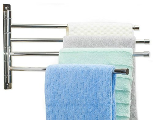 Swing Arm Towel Bar - Wall Mounted Stainless Steel Bathroom Towel Rack - Hanger Towel Holder Organizer - Perfect Towel Rack With 4 Arms - Polished Finish (10