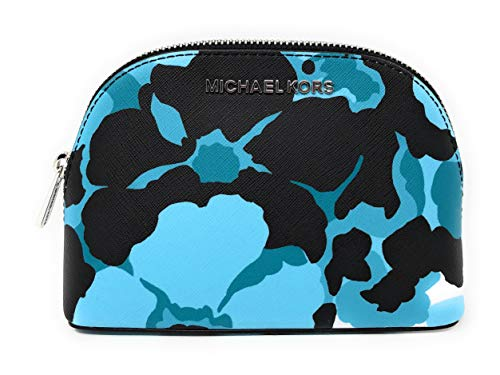 Michael Kors Jet Set Travel MD Cosmetic Travel Pouch Bag in Tile Blue Big Flowers (Michael Kors Cosmetic Bag)