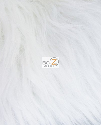 SOLID GRIZZLY SHAGGY FAKE FUR FABRIC SOLD BY THE YARD LONG PILE COSTUME COATS SCARFS (White)