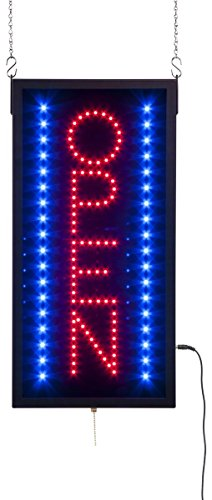 Displays2go Vertical LED Neon Business Open Sign for Windows with 3 Illumination Settings, Red and Blue Lights (LEDOPEN08)