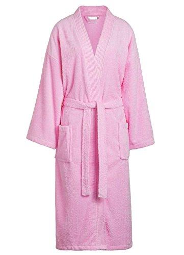 Goza Towels Unisex Kimono Bathrobe Cotton Terry Cloth Robe (One Size, Pink)