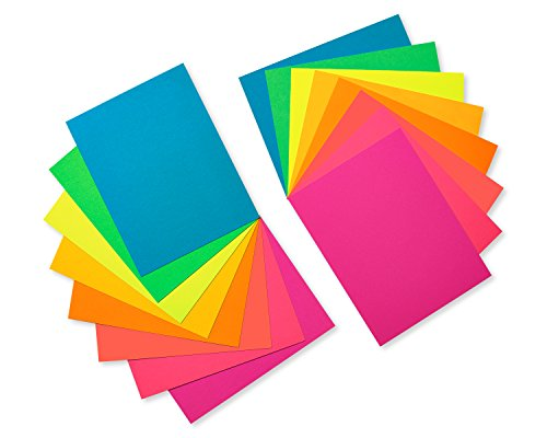 Pack Single Card (American Greetings Neon Rainbow Blank Single Panel Cards and Colored Envelopes, 100-Count)