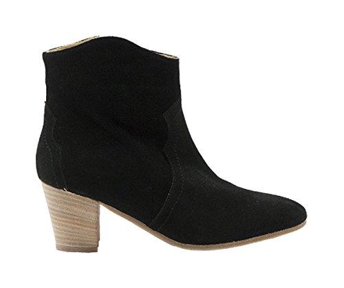 Ganzo Italian Designer Suede Side Zippered Ankle Boot Black 2UODXazBmE