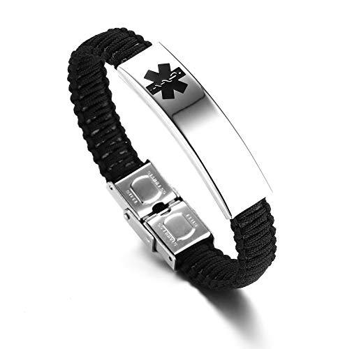 (JF.JEWELRY Medical ID Alert Bracelet for Women Nylon Braid Bracelet Adjustable Free Engraving)