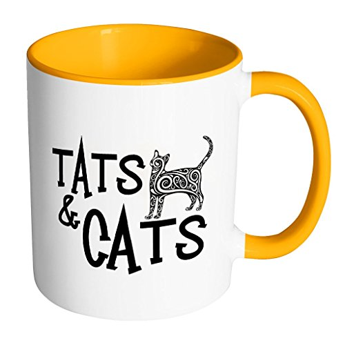 Tats & Cats Twisted Cat | Funny and Cool White 11 oz Accent Coffee Mug In Different Colors (Cheshire Cat Face Tattoo)