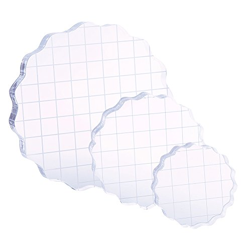 (DECORA 3 Pieces Thicken Clear Acrylic Stamping Blocks Set with Grid and Grip)