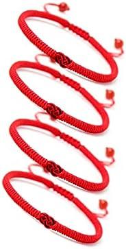 4 pulseras trenzadas hechas a mano con nudo de amor trenzado, tibetano, étnico, cuerda colorida, protección de