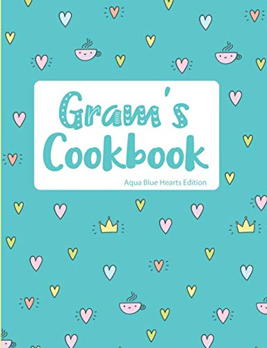 Gram's Cookbook Aqua Blue Hearts Edition by Pickled Pepper Press