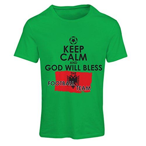 Ladies T-Shirt God Will Bless The Albanian National Football Team - Championship, World Cup Soccer Team Fan Shirt (XX-Large Green Multi ()