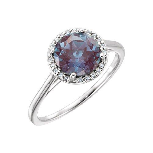 Bonyak Jewelry Lab-Created Alexandrite 14k White Gold Chatham Created Alexandrite & .05CTW Diamond Ring - Size - Ring Alexandrite Gold Chatham