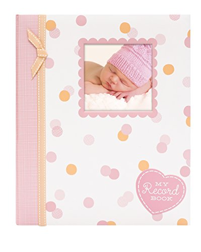 Lil Peach First 5 years Baby Memory Book, Pink and Peach Confetti Polka Dots