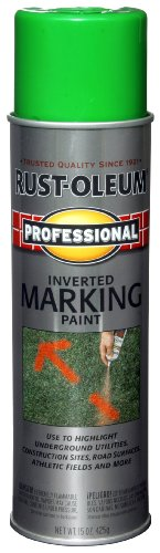 Rust-Oleum 207464 Professional Inverted Marking Spray Paint, 15 oz, Fluorescent Green ()